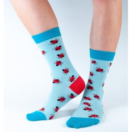 Doris & Dude Womens Aqua Ladybird Bamboo Socks