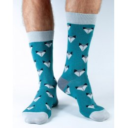 Doris & Dude Mens Teal Fox Bamboo Socks