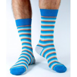Doris & Dude Mens Blue & Orange Bamboo Socks