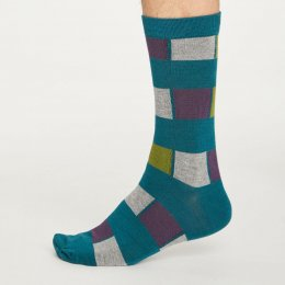 Thought Mens Deep Teal Geo Strip Bamboo Socks