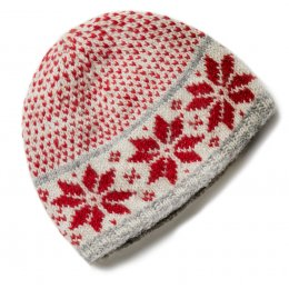 Womens Snowflake Beanie Hat - Red & Grey