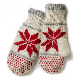 Womens Snowflake Mittens - Red