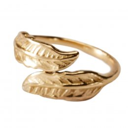 Gold Coloured Narrow Leaf Design Ring