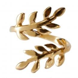 Gold Coloured Leaf Design Ring