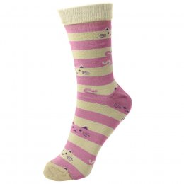 Cheeky Cat Stripe Bamboo Socks - UK3-7