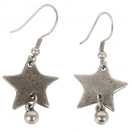 Silver Coloured Star Drop Earrings