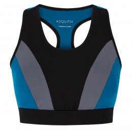 Asquith Bamboo & Organic Cotton Balance Bra Top - Black, Deep Grey & Teal