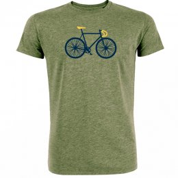 Green Bomb Bike Free T-Shirt - Mid Heather Khaki