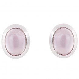 People Tree Silver Rose Quartz Stud Earrings