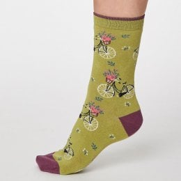 Thought Pea Green Bicicletta Bamboo Socks - UK4-7