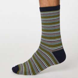 Thought Dark Navy Michele Stripe Bamboo Socks - UK7-11