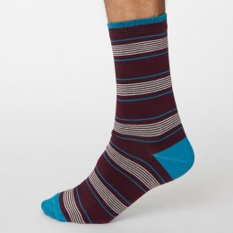 Thought Wine Red Edoardo Striped Bamboo Socks - UK7-11