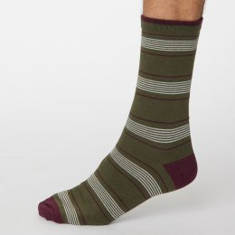 Thought Khaki Green Edoardo Striped Bamboo Socks - UK7-11