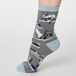 Thought Pebble Grey Gatto Bamboo Socks - UK4-7