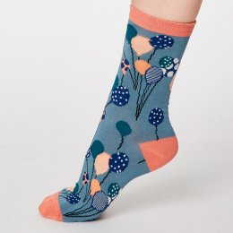 Thought Sea Blue Nettie Bamboo Socks - UK4-7
