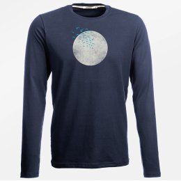 Green Bomb Nature Birds Moon Long Sleeve T-Shirt - Navy