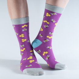 Doris & Dude Purple Bees Bamboo Socks - UK3-7