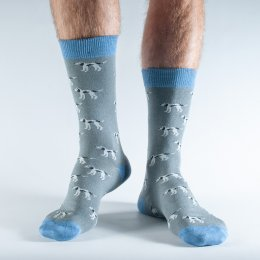 Doris & Dude Grey Dog Bamboo Socks - UK7-11