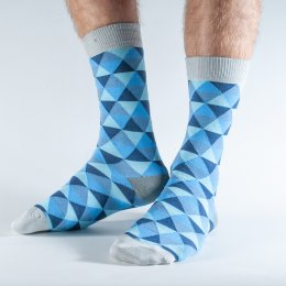 Doris & Dude Blue Triangle Bamboo Socks - UK7-11