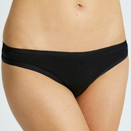 People Tree Organic Cotton Thong - Black