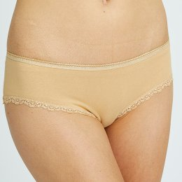 People Tree Organic Lace Hipster Briefs - Almond