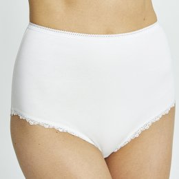 People Tree Organic Cotton High Waist Lace Briefs - White
