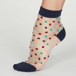 Thought Indigo Cecile Recycled Nylon Spotty Mesh Socks - UK4-7