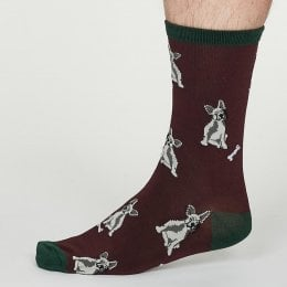 Thought Burgundy Lyman Bamboo Socks - UK7-11