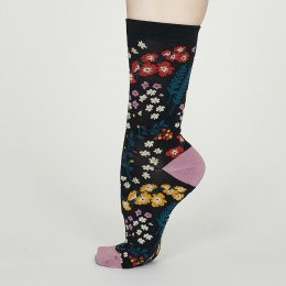 Thought Midnight Blue Blossom Bamboo Socks - UK4-7