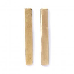 People Tree Handmade Long Bar Earrings - Brass