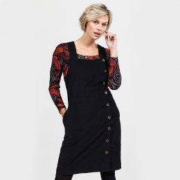 Nomads Graphite Button Through Dungaree Dress