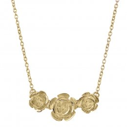 Kashka London Roses in a Row Sterling Silver Yellow Gold Plated Necklace