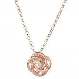 Kashka London Joy Sterling Silver Rose Gold Vermeil Necklace with Rose Quatrz