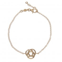 Kashka London Love Sterling Silver Yellow Gold Vermeil Bracelet with Rose Quatrz
