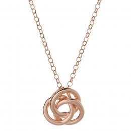 Kashka London Love Sterling Silver Rose Gold Vermeil Necklace with Rose Quatrz