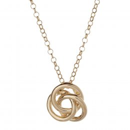 Kashka London Love Sterling Silver Yellow Gold Vermeil Necklace with Rose Quatrz