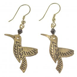 Gold Coloured Hummingbird Earrings