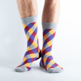 Doris & Dude Purple Diamond Bamboo Socks - UK7-11