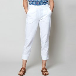 Nomads White Slim Leg Crop Trousers