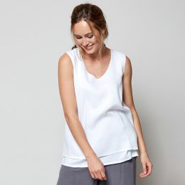 Nomads White Double Layer Vest Top