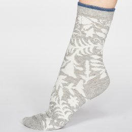 Thought Grey Marle Otomi Floral Socks - UK 4-7
