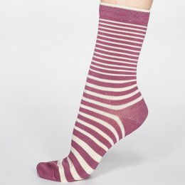 Thought Mauve Pink Jacinda Stripe Bamboo Socks - UK 4-7