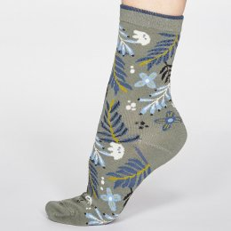Thought Sage Green Nelly Floral Bamboo Socks - UK 4-7