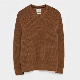 White Stuff Corrdon Texture Crew Neck Sweater - Mid Brown