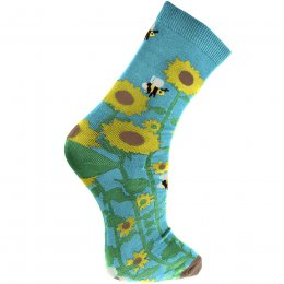 Fair Trade Sunflowers & Bees Bamboo Socks - UK3-7