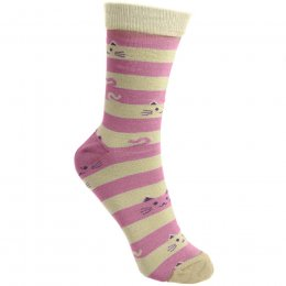 Fair Trade Stripes & Cats Bamboo Socks - UK3-7