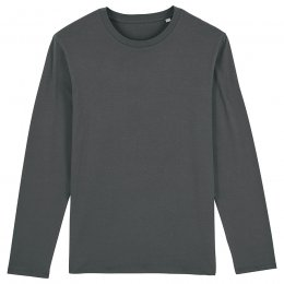 Organic Cotton Round Neck Long Sleeve T-Shirt - Anthracite