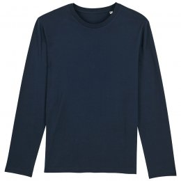 Organic Cotton Round Neck Long Sleeve T-Shirt - Navy