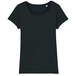 Organic Cotton Scoop Neck T-Shirt - Black